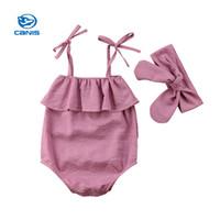 neue ankunftsbabyausstattung großhandel-2018 neue Ankunft Sommer Neugeborenen Baby Mädchen Baumwolle Gestreiften Spielanzugoverall Bodysuit Stirnband Baby Mädchen Kleidung Outfit