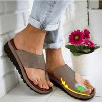 ortopedik ayak bunyonu toptan satış-Kadın PU Deri Ayakkabı Rahat Platformu Düz Taban Bayanlar Rahat Yumuşak Büyük Ayak Ayak Düzeltme Sandal Ortopedik Bunion Düzeltici