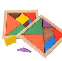 intellektuelle spielzeug großhandel-Puzzle Bricks Tangram Holz Lernspielzeug Kreative Mode Kinder Kinder Geschenk Intellektuelle Bausteine Kinder Kind Spielzeug DHL
