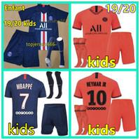 neue fußballsocken großhandel-New psg Kinder Kit Set Socken Fußball-Trikot maillot psg Kinder 2019 2020 Fußball-Kits 19 20 Maillot de foot psg Kinderhemd Mbappe Jersey