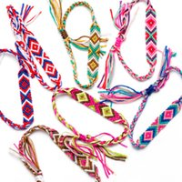 Wholesale woven anklets for sale - Group buy Multilayer Colorful Nepalese Ethnic style hand woven Bracelet Handmade Weave Drawstring Hemp Rope Cuff Bracelet Anklet Beach Jewelry M573Y