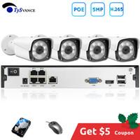 ingrosso cctv 16 sistemi di telecamere-4ch 5MP POE Kit H.265 del sistema di sicurezza del CCTV Fino a 16 canali NVR 2TB HDD esterna impermeabile IP telecamera di videosorveglianza Allarme P2P