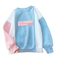 o альбом оптовых-Women Harajuku Hoodies Autumn BTS Bangtan New Album Love Yourself Answer Sweet Color Block Patchwork Hooded Sweatshirts Dropship