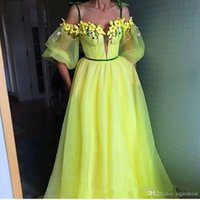 Wholesale puff prom dress for sale - Group buy 2020 New Colorful Evening Dresses with Spaghetti Neckline Sheer Puff Sleeves Boned Bodice Sweep Train Handmade Flowers Party Prom Gowns