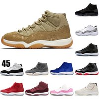 hommes chaussures basket xi achat en gros de-Nike jordan retro 11 11 XI Hommes Femmes Chaussures de basket-Olive Lux Concord Bred Platinum Tint Space Jam XI UNC 2019 Designer Shoes Men Sport Sneakers 5-13