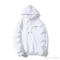 marca de capuz preto venda por atacado-Marca designer hoodie OFF moletom com capuz branco casal simples preto branco listrado zebra linha pullover moda selvagem camisola hoodies personalizados privados