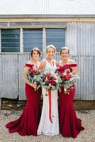 Wholesale solid white coral for sale – plus size 2019 Mermaid Red Bridesmaid Dresses Off Shoulder Sleeveless Sweep Train Wedding Guest Gowns Solid Elegant Plus Size robe de mariée Custom