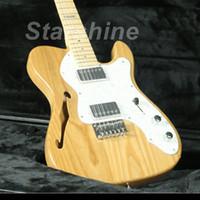 e-gitarre natur großhandel-Starshine JEN6184 Klassische TL E-Gitarre Semi Hollow Body ASH Body Perlweiß Pickguard Ahorn Hals Natur Farbe
