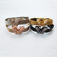 schmetterling geformte uhr groihandel-Schmetterling Form inspiriert Schmuck Armreif, verstellbare Uhr Gürtel Armband, CZ Micro Pave Insekt Charm Bead Armband BG238