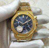 ingrosso orologio giallo al quarzo-5 orologi di alta qualità in stile N8 fabbrica 26331BA.OO.1220BA.01 Royal Oak Offshore VK Cronografo al quarzo con orologio da uomo in oro giallo 18 carati