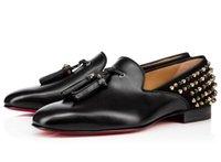 kırmızı gelinlik erkek toptan satış-Christian Louboutin CL Yeni Moda Siyah Glitter Spike Kırmızı Alt Loafer'lar Ayakkabı Erkekler Flats Düğün Parti Erkek Beyler Elbise Oxford Ayakkabı L012