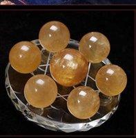 bolas de cristales de feng shui al por mayor-Siete matrices amarillas de la bola de cristal adornos Lucky transporter apertura feng shui adornos artesanías en casa 30--40mm