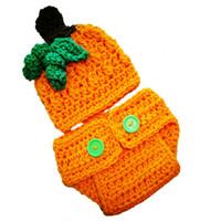 Wholesale diaper cover hat sets resale online - Newborn Pumpkin Outfits Handmade Knit Crochet Baby Boy Girl Pumpkin Beanie Hat and Diaper Cover Set Halloween Costume Infant Photo Prop