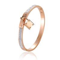 ingrosso pave cuffs-Braccialetti del braccialetto dell'acciaio di titanio dei braccialetti dell'inarcamento della serratura del progettista di marca pavimentano i monili dei monili di fascini di tono dell'oro di rosa del Rhinestone DHL all'ingrosso
