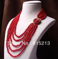 korallen perlen blumen großhandel-ddh0023 6-7mm rote koralle perlen mehrreihige geschnitzte rose blume halskette