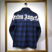 korea mode männer großhandel-2019 neue Korea hiphop Männer Frauen Palm Angels Langarmhemd Übergroße Lässige Mode Baumwolle Taschen Rot blau Palm Angels shirt