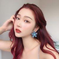 Wholesale mother pearl stud earring flower resale online - Fashion Designer Flower Earrings for Women Jewelry Geometric Earrings Hot Sale Blue Flower Ear Stud for Party