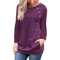 Wholesale wholesale tunic tees online - Women Long Sleeve Button T Shirt Loose Trim Blouse solid color Round Neck Tunic Maternity Tops Tees home Shirt AAA1672