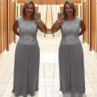 mutter braut robe großhandel-2019 Neueste graue Mutter der Braut Kleider Robe De Mariée Mantel Spitze Chiffon Mütter Kleider für formelle besondere Anlässe Prom Kleider