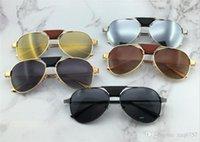 Wholesale sunglasses screws for sale - Group buy New fashion men sunglasses pilot frame santos leather design men brand designer metal frame screws design top quality with case00271