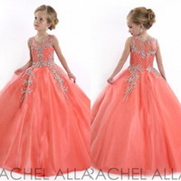 Wholesale tiered tulle dresses for little girls for sale - Group buy Vintage Little Girls Pageant Dresses for Teens Princess Tulle Jewel Crystal Beading Coral Kids Flower Girls Dress Birthday gowns