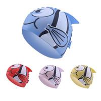 bonés de natação dos peixes venda por atacado-Touca de natação dos desenhos animados crianças à prova d 'água animal de impressão crianças nadar tampas de silicone chapéu de natação