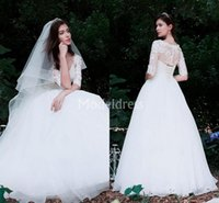 Wholesale country style wedding dresses online - Bohemain Lace Wedding Dresses V Neck Illusion Half Sleeves A Line Sweep Train Country Style Beach Bridal Gown Elegant Vestidoe De Noiva