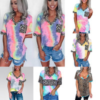 6 Colors Women Tie Dye Gradient Rainbow Short Sleeved T Shirt Leopard Splicing V Neck Casual Tunic Tops with Pocket M2135
