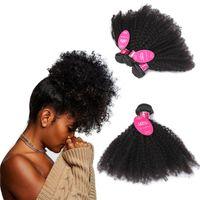 tramas de cabello ondulado al por mayor-pelucas de pelo rizado Brasileño Tramas de cabello virgen Paquetes de cabello humano húmedo y ondulado Paquetes Rizado (8-20 pulgadas)