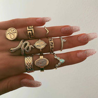 Wholesale wedding gold ring design for women resale online - European USA Fashion Exaggerate Vintage Retro Knuckle Rings for Women Girls Snake Shape Design Gold Color