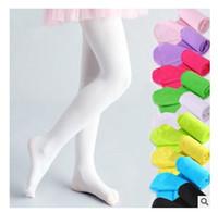 bebek dansı taytları toptan satış-Kızlar Külotlu Çorap Tayt Şeker Renk Çocuk Giyim Bebek Çocuklar için Pamuk Kızlar için Karışımları Çorap Dans Tayt 13 Renkler Ücretsiz nakliye