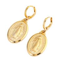 Virgin Mary Earrings Christmas Gifts 24K Gold Color Women Men Jewelry Earrings Wholesale Cross Earrings Jewelry