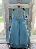 Wholesale bling pageant dresses for girls resale online - Blue Chiffon Pageant Dresses With Cape for Teens with Wrap Bling Rhinestones Long Pageant Gowns for Little Girls Formal Party rosie