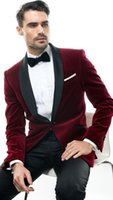 ingrosso miglior vestito di lana-Solovedress Nuovo 2 pezzi Borgogna Suit Suit Velluto di lana Groomsman Smoking giacca Pantaloni Set formale Wedding Migliori abiti da uomo