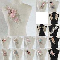 bordado bordado dimensional venda por atacado-Alta qualidade tridimensional Collar Flower Lace costura Lace decote Applique DIY bordados decorativos Roupas Acessórios