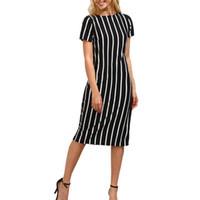 0819547a7b9 Mode Femmes Bureau Robe Dames À Manches Courtes O Cou Rayé Genou Longueur Des  Robes De Poste Sumemr OL Style Robe De Travail  L