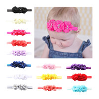 Wholesale cute orange headbands for sale - Group buy 14 color infant lovely girl hair band pearl flower headband cute baby girl Multicolour hair accessories