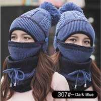 Wholesale girls face masks for sale - Group buy Designer Scarf Hats Womens Pom Beanie Hat Scarf Set Girls Cute Winter Ski Hat Slouchy Knit Skull Cap with Fleece Lined Face Masks