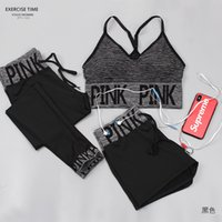 pantalones de yoga cortos de fitness al por mayor-3 Piezas / set Conjuntos de yoga para mujer Pink Letter Sport Wear Women Fitness Sport Bra + Yoga Pants + Shorts Sport Set Workout Gym Clothing