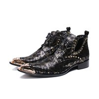 Wholesale roman dress styles resale online - British Style Lace Up Men Ankle Boots Genuine Leather Motorcycle Cowboy Shoes Men Snake Skin Boots Dress Shoes