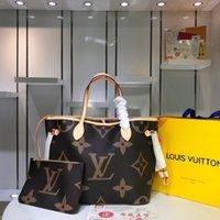 bolsa de bádminton blanco al por mayor-19ss Leather Designer Lux Handbags Monederos L Letter NEVERFULL Handbag White Printing Purse Womens Designer Bag