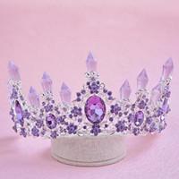 einfache tiara krone großhandel-Die einfache diamant geburtstagstorte dekoration braut brautkleid krone haarzusätze frauen krone runde kaiser tiara partei schmuck
