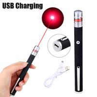 1mw lasers venda por atacado-1 mW Red Lasers Pointer Caça Red Dot USB Lasers Recarregáveis Pointer Light Pen Feixe Visível Lasers Vermelhos Militares Bateria Embutida