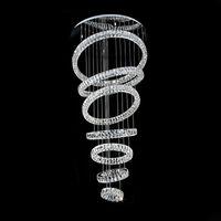 salon kristal dekorları toptan satış-Lüks Avize Aydınlatma Modern 7 Yüzükler Kristal Lamba Oturma Odası Için Modern LED Lustres De Cristal Ev Dekor Işık