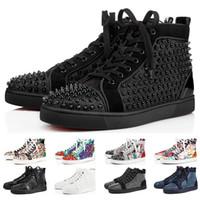 2019 Christian Louboutin Designer Sneakers Red Bottom Schuh Low Cut Studded Spikes Luxus Schuhe für Männer und Frauen Schuhe Party Hochzeit Kristall