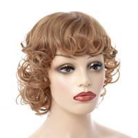 sarışın kısa kıvırcık saç toptan satış-Sarışın Sentetik Saç Peruk Kadınlar için Kısa Kıvırcık Isıya Dayanıklı Saç Peruk Parti Peruk 12 Inç