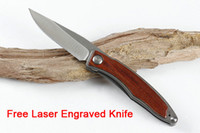 Wholesale 7cr13mov knife steel for sale - Group buy Free Personalized LOGO Chris Reeve Mnandi CR Small Folding Knife Steel Wood CR13MOV Blade Tactical Knives Gifts Free DHL P120R Y