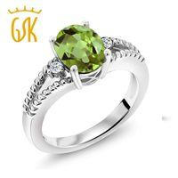 anillos de piedra ovales de plata verde al por mayor-Gem Stone King 2.05 Ct Oval Green Peridot White Topaz 925 anillo de plata esterlina para las mujeres joyería fina