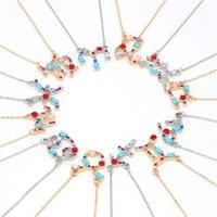 gargantilha de ópalo colares venda por atacado-Corlorful Zodiac Colares Declaração Para As Mulheres Constelações Góticas Colares Charme Gargantilha Presentes Opal Zircon Presente J40