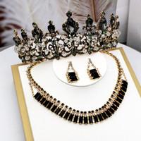 schwarze prom ohrringe großhandel-2019 Mode Schwarze Krone Drei Stück Halskette Ohrringe Prom Reifen Königin Hochzeit Stirnband Haar Hohe Qualität